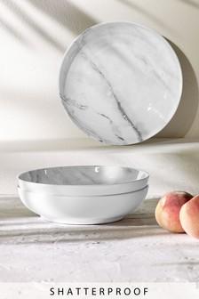 Set of 4 Marble Print Melamine Dessert Bowls