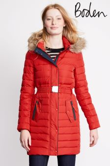 Boden Post Box Red Alberta Padded Coat