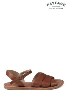 FatFace Tan Exton Leather Flat Sandal