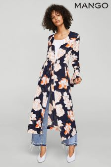 Mango Navy Floral Shirt Dress