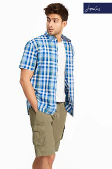 Joules Blue Check Wilson Poplin Short Sleeve Shirt