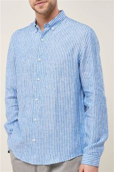 Long Sleeve Pure Linen Striped Shirt
