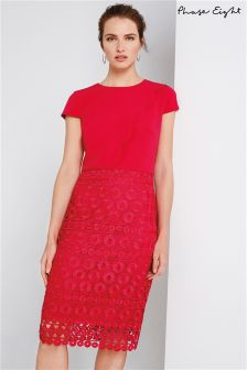 Phase Eight Hot Pink Marlin Scallop Lace Dress