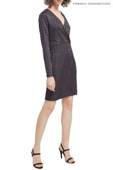 French Connection Grey Linear Jacquard Dress
