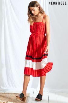 Neon Rose Red Sport Stripe Pleated Midi Dress