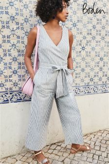 Boden Chambray Blue/Ivory Stripe Wrap Jumpsuit