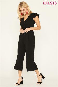 Oasis Black Frill Sleeve V-Neck Jumpsuit