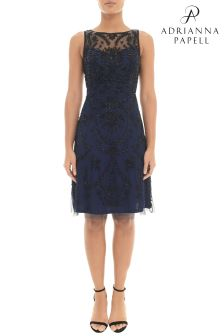 Adrianna Papell Blue Short Fully Beaded Dress