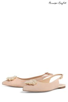 Phase Eight Cameo Abi Pearl Trim Slingback Flat Shoe