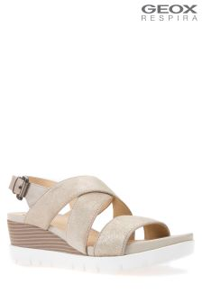Geox Marykarmen Plus Light Gold Wedge Sandal
