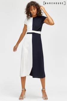 Warehouse Navy/White Colourblock Twist Front Dress
