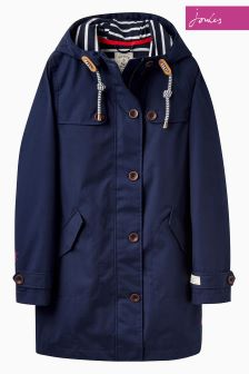 Joules Navy Mid Length Coast Hooded Jacket