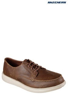 Skechers® Brown Leather Lace-Up With Air Cooled Memory Foam