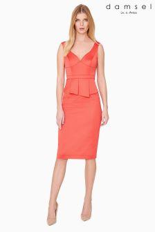 Damsel Orange Sienna Satin Peplum Dress