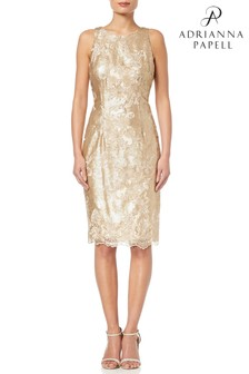Adrianna Papell Gold Short Sequin Dress
