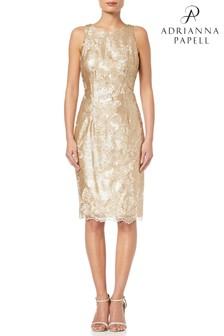 Adrianna Papell Gold Short Sequin Dress