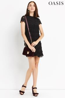 Oasis Black Fringe And Lace Shift Dress