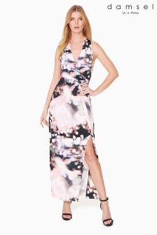 Damsel Pink City Lights Print Maxi Dress