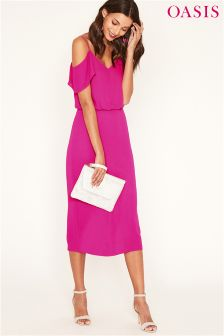 Oasis Pink Cold Shoulder Column Midi Dress