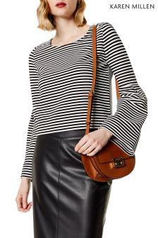 Karen Millen White Flared Cuff Cropped Jersey Top