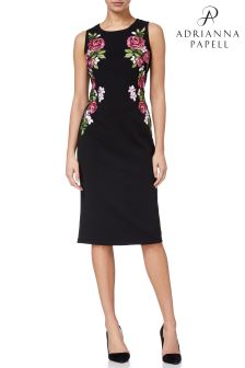 Knit Crepe Embroidered Sheath Dress