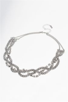 Plaited Chain Statement Necklace