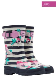 Joules Blue Margate Floral Stripe Printed Welly