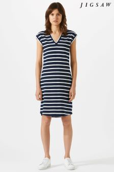 Jigsaw Blue V-Neck Breton T-Shirt Dress