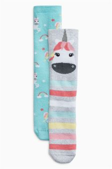 Unicorn Welly Socks Two Pack (Younger Girls)