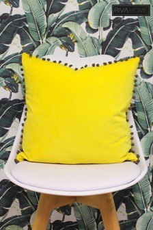 Riva Yellow Pom Pom Cushion