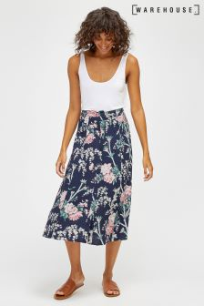 Warehouse Navy Toile De Jour Midi Skirt