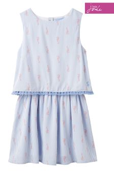 Joules Blue Stripe Imogen Woven Double Layer Dress