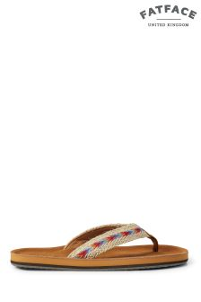 Fat Face Tan Somerton Suede Flip Flop