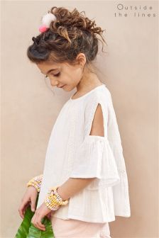 Outside The Lines Cold Shoulder White Top