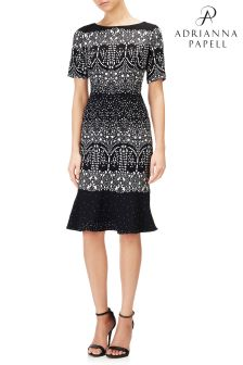 Adrianna Papell Black Sheath Dress With Drop Waist