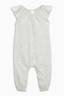 All Over Foil Print Palm Tree Playsuit (3mths-6yrs)