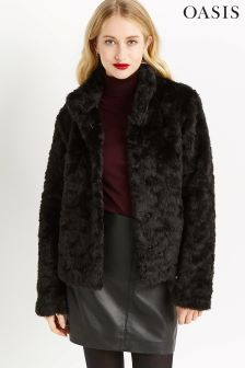 Oasis Black Mimi Faux Fur Jacket