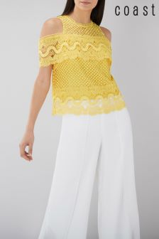 Coast Yellow Fabron Lace Top