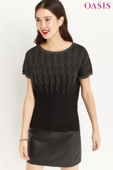 Oasis Black Ombre Sparkle Tee