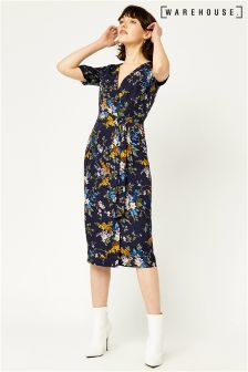 Warehouse Navy Trailing Floral Midi Dress