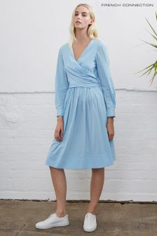 French Connection Blue Eastside V-Neck Flared Dress