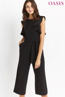 Oasis Black Ruffle Top Jumpsuit