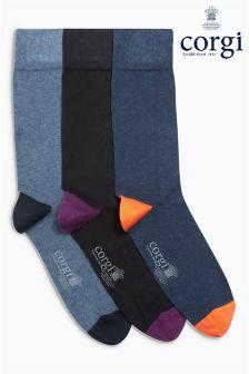 Mixed Heel And Toe Socks Three Pack Gift Box