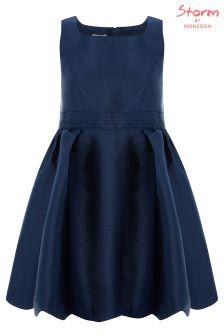 Monsoon Navy Mila Bow Prom Dress