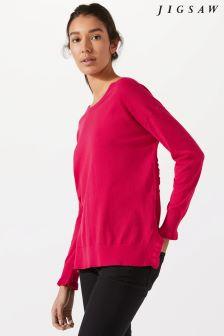 Jigsaw Pink Frill Trim Cotton Slouchy Jumper