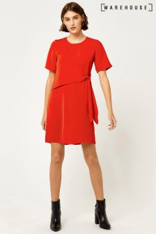 Warehouse Red Tie Front Dress