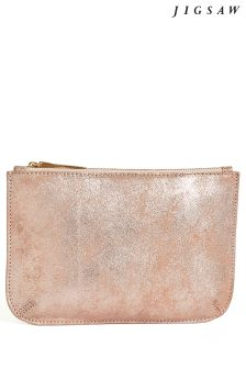 Jigsaw Rose Gold Alba Medium Leather Pouch