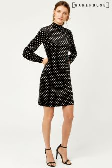 Warehouse Black/Cream Spot Velvet Dress