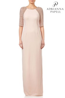 Adrianna Papell Blush Beaded Long Dress