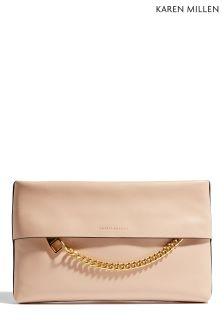Karen Millen Nude Chain Zip Bag